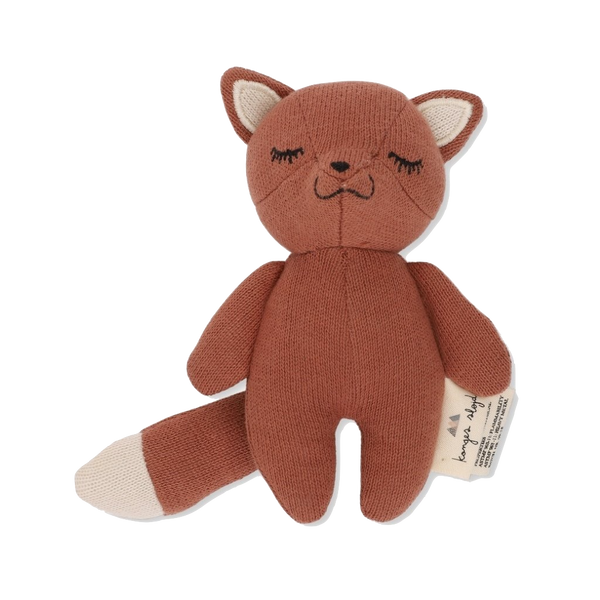 konges slojd, baby Mini Fox Soft Toy Rattle - when we wear young