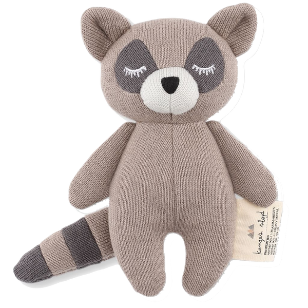 konges slojd, baby Mini Raccoon Soft Toy Rattle - when we wear young