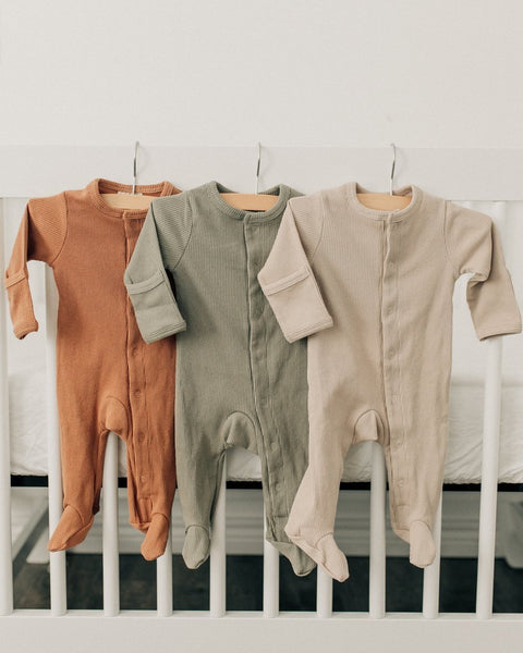 mebie baby, baby Sand Ribbed Footed Sleeper - when we wear young