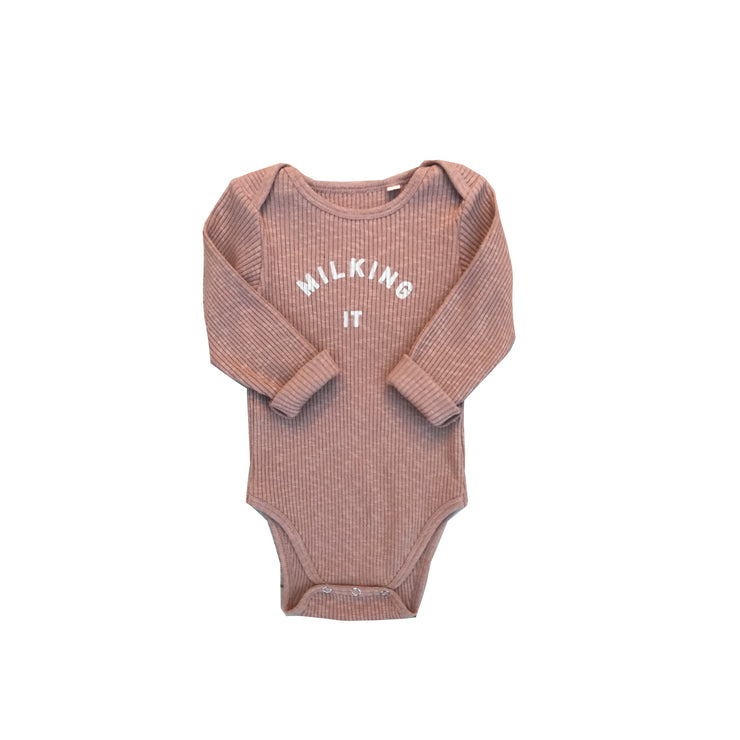"""Milking It"" Dusty Rose Rib Long Sleeve Onesie"