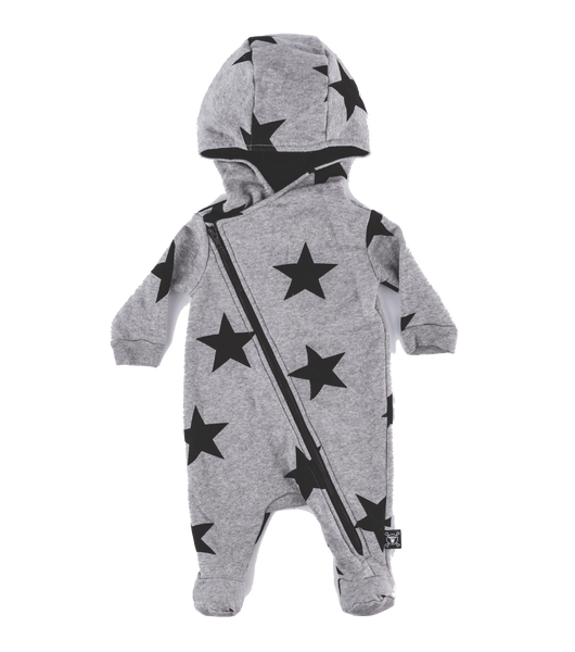 nununu, baby Heather Grey Star Zip Cozy Romper - when we wear young