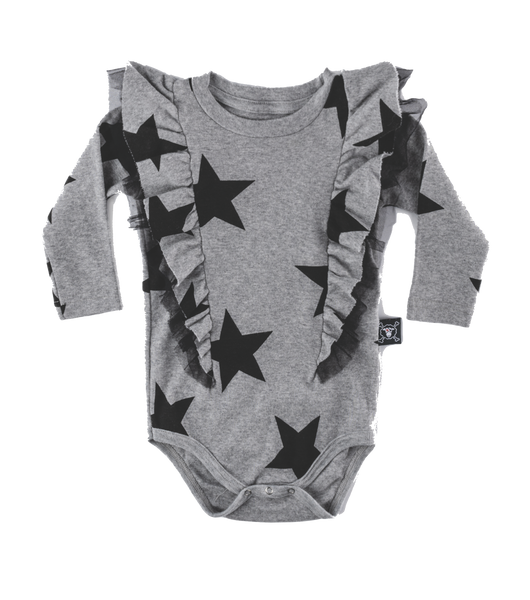 nunu, baby Heather Grey Ruffled Star Onesie - when we wear young