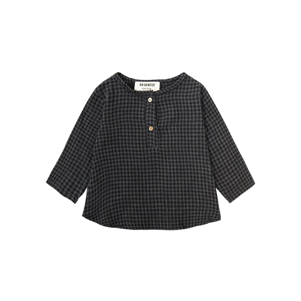 Go Gently Nation, baby Gingham Placket Top - when we wear young