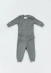 Grey/White Striped Ribbed Two Piece Set