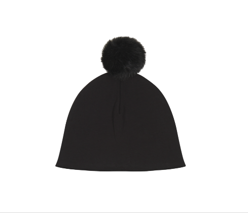 House of Jamie, baby Black Pom Pom Hat - when we wear young