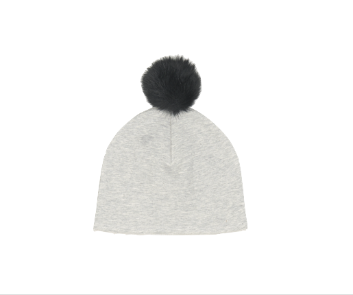 Grey Pom Pom Hat - House of Jamie -when we wear young