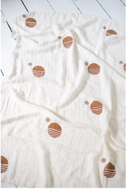 Little Beacon, baby Handprinted Sun Muslin Blanket - when we wear young