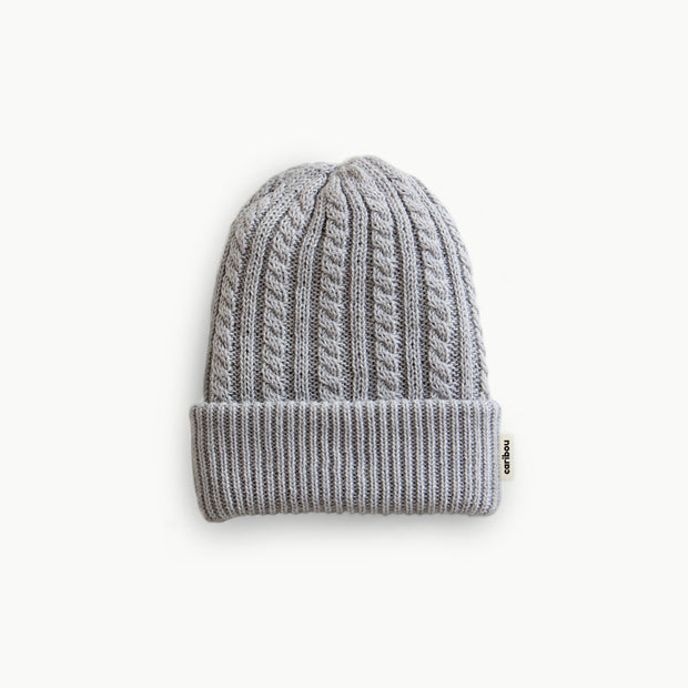 Adult Light Grey Merino Wool Beanie