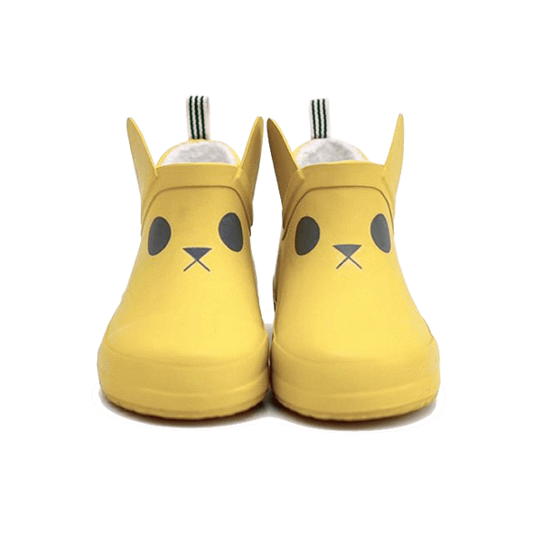 boxbo, baby Mustard Rabbit Short Rain Boot - when we wear young
