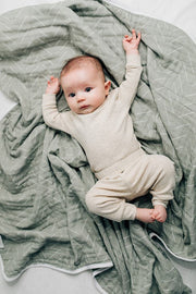 mebie baby, baby Desert Sage Muslin Quilt - when we wear young