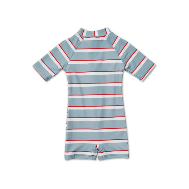 Max Sea Blue/Apple Red Stripe Swim Jumpsuit