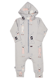 Light Grey Jumpsuit with Bunny Print