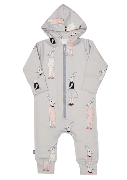 Light Grey Jumpsuit with Bunny Print-LAST SIZE! 0-6m