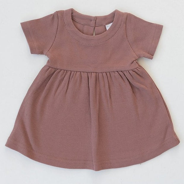 Dusty Rose Cotton Ribbed Dress-LAST SIZE! 12-18m