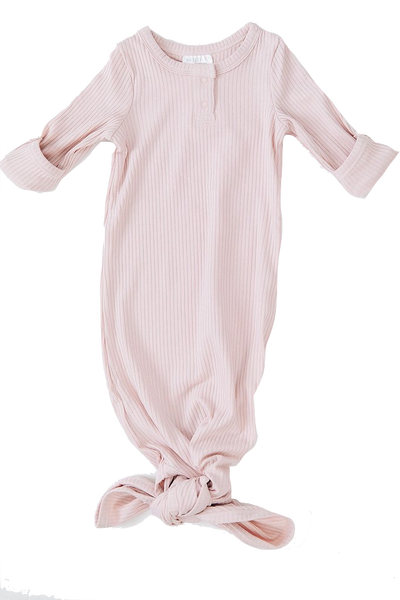mebie baby, baby Petal Ribbed Knot Gown - when we wear young