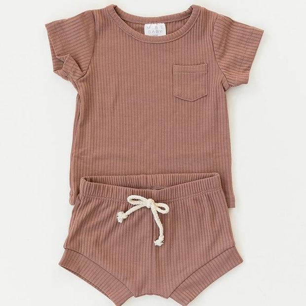 Dusty Rose Ribbed Pocket Tee and Short Set