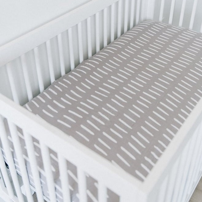 mebie baby, baby Grey Dash Crib Sheet - when we wear young