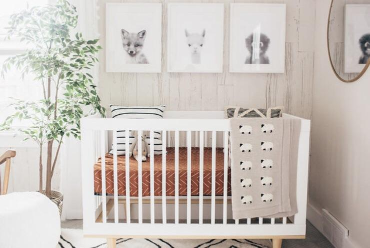 mebie baby, baby Rust Lines Crib Sheet - when we wear young