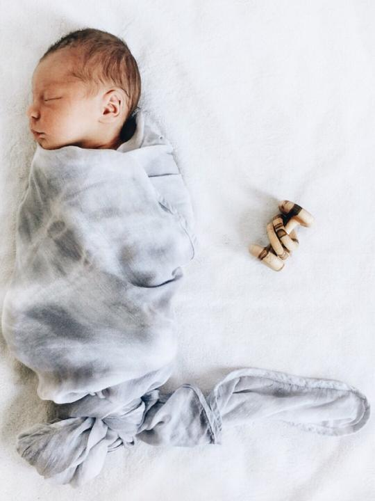 Grey Bamboo Tie Dye Cotton Swaddle