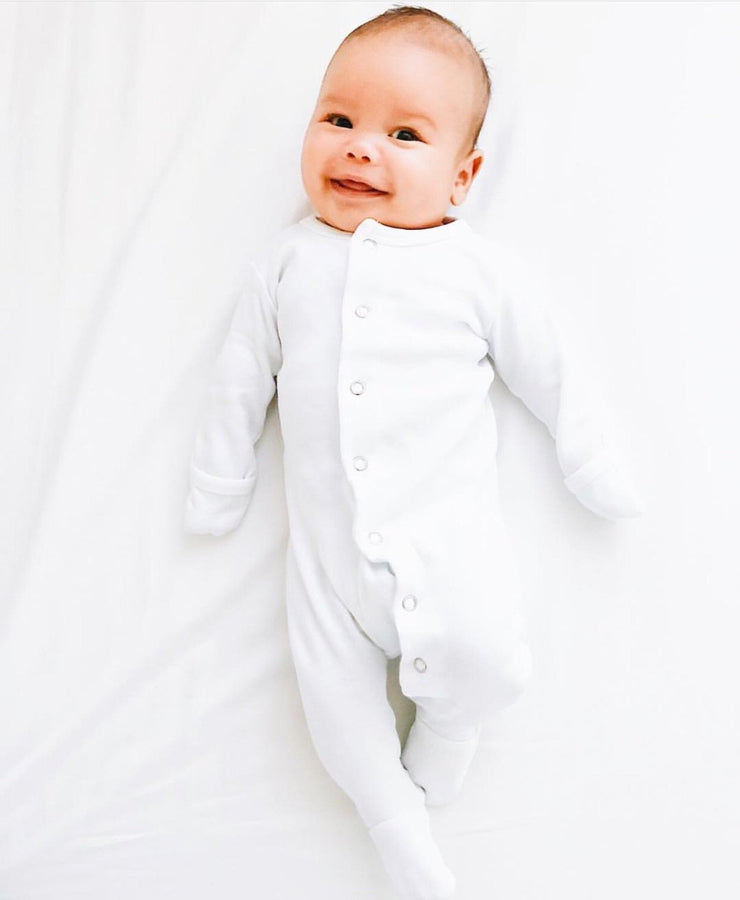 L'oved Baby, baby White Organic Sleeper - when we wear young