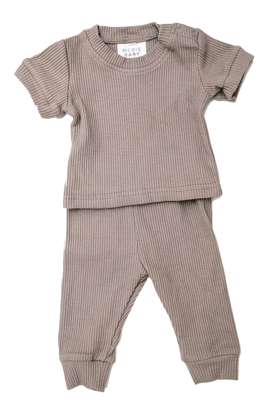 mebie baby, baby Taupe Two-Piece Pajama - when we wear young