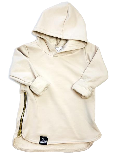 Olive + Splash, baby Nude Bamboo Hoodie with Gold Zip - when we wear young