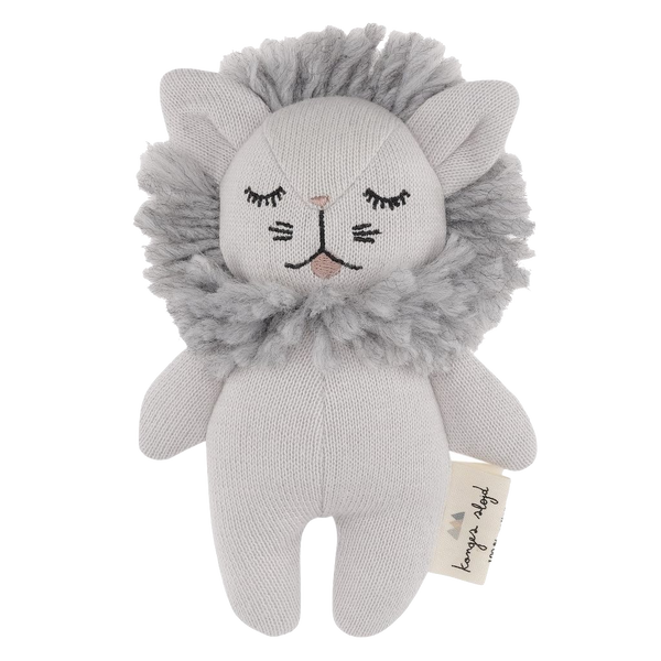 konges slojd, baby Mini Lion Soft Toy Rattle - when we wear young