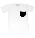 "Os & Oakes, baby White Pocket Tee-""Catch me if you Can""-LAST SIZE! 12-18m - when we wear young"