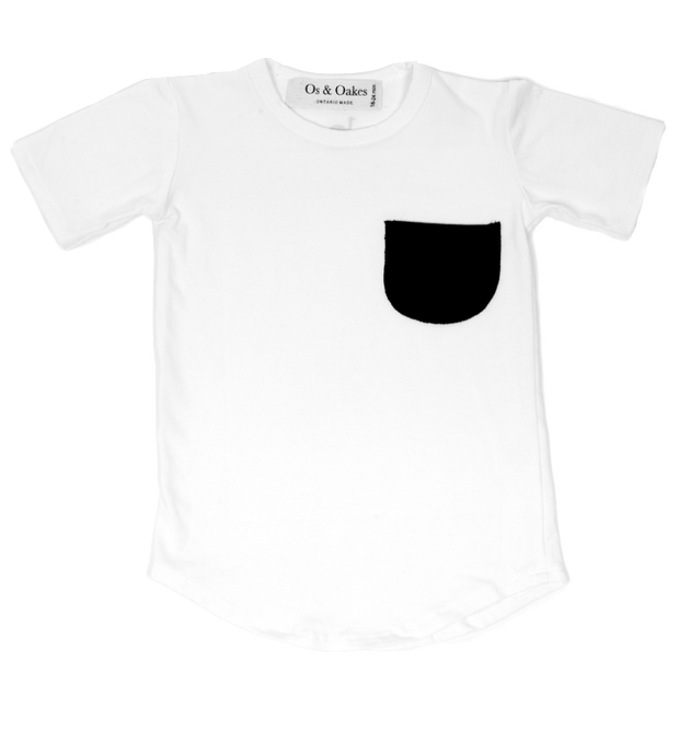 Os & Oakes, baby White Pocket Tee - when we wear young