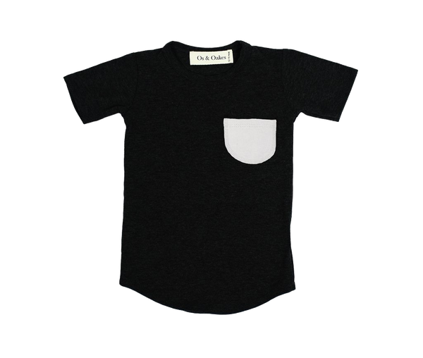 Os & Oakes, baby Black Pocket Tee - when we wear young