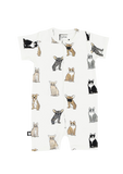 White Romper with Dogs and Cats