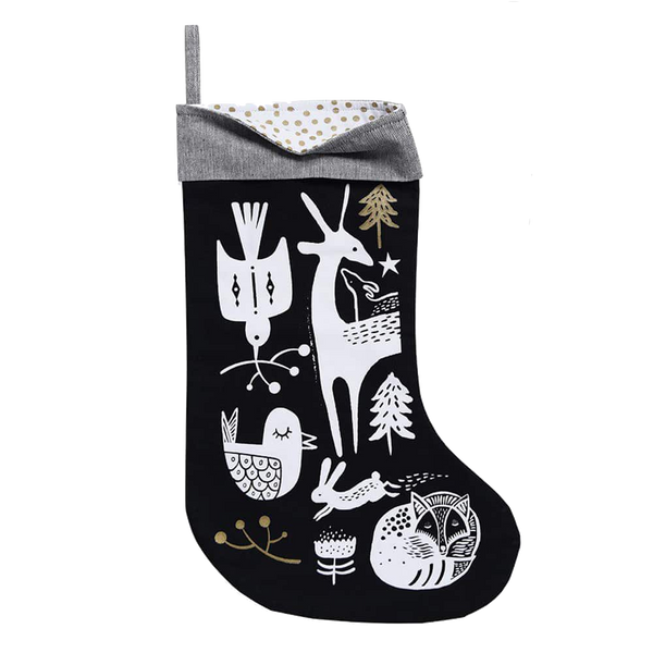 Winter Animals Stocking-White on Black - Wee Gallery -when we wear young