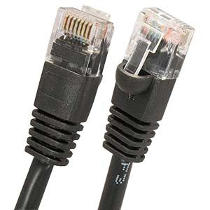 2Ft Cat5E UTP Ethernet Network Booted Cable Black