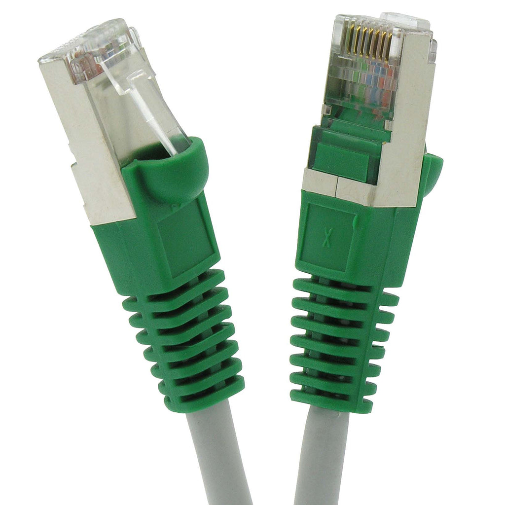 1Ft Cat.6 Shielded Crossover Cable Gray Wire/Green Boot