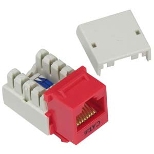 Cat.6 RJ45 110 Type Keystone Jack Red