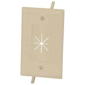 1-Gang Feed-Through Wall Plate with Flexible Opening, Ivory