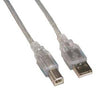 10Ft A-Male to B-Male USB2.0 Cable Clear