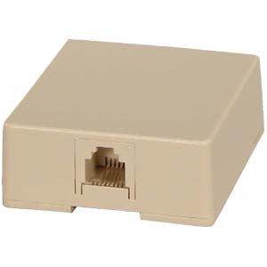 RJ11 Modular Single Port Surface Mount Jack Ivory