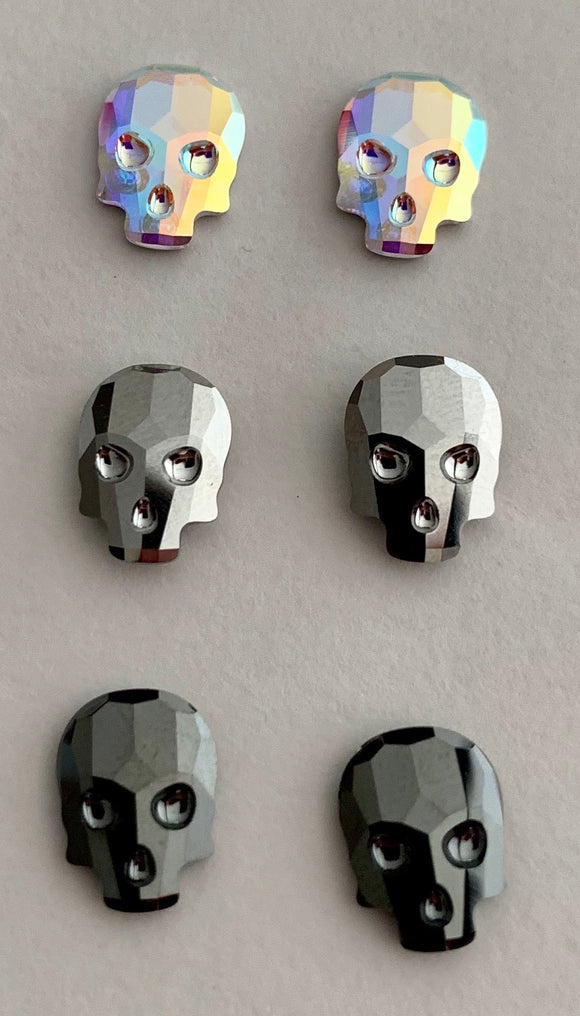 Swarovski Crystal Skull Stud Earrings - Small