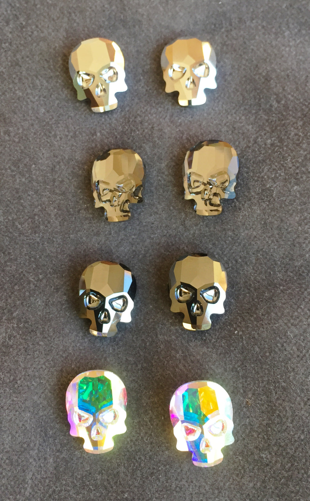 Crystal Skull Stud Earrings - large