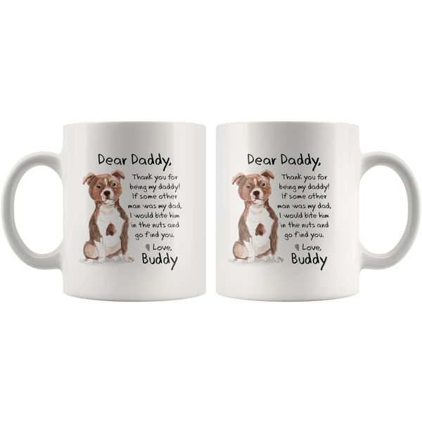 9fa367c3752 ... The ORIGINAL Personalized PIT BULL Dog Dad Mug Bite Him in the Nuts  Christmas Funny Gift