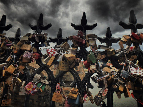Love Locks 1/2, Charles Bridge, Prague Czech Republic - Travel wall art prints by Edwin Datoc Gallery