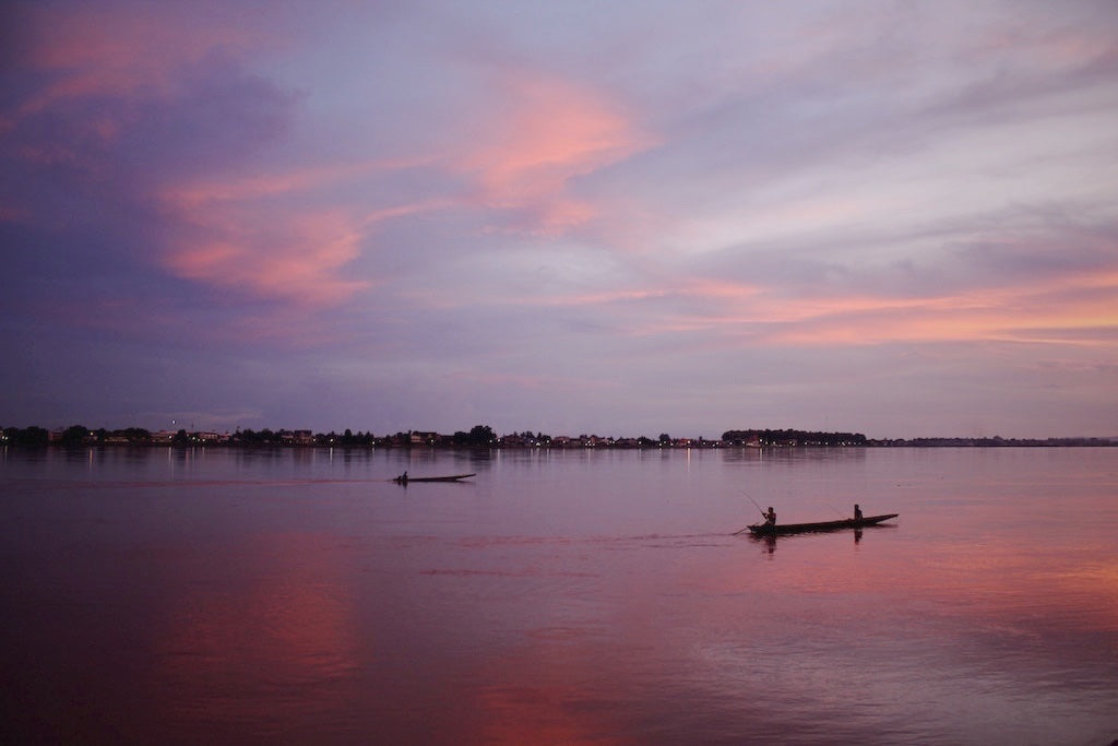 Sunset Fisherman, Mekong River, Vientiane Laos - Travel wall art prints by Edwin Datoc Gallery