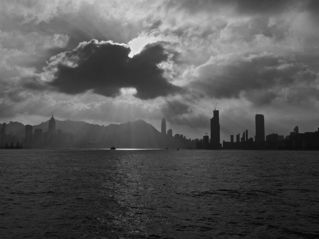 Cloud Beam, Victoria Harbour, Hong Kong - Travel wall art prints by Edwin Datoc Gallery