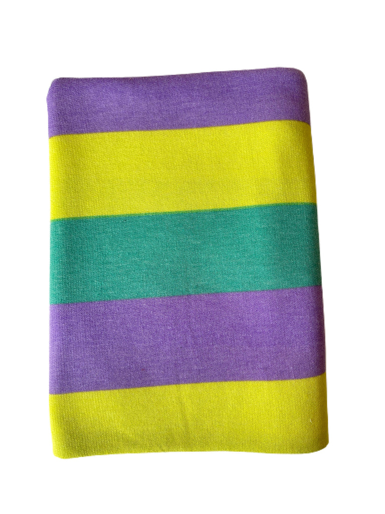 Lime, purple, teal French terry stripe knit