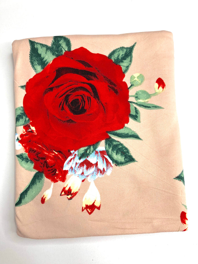 Large scale valentines floral brushed poly knit