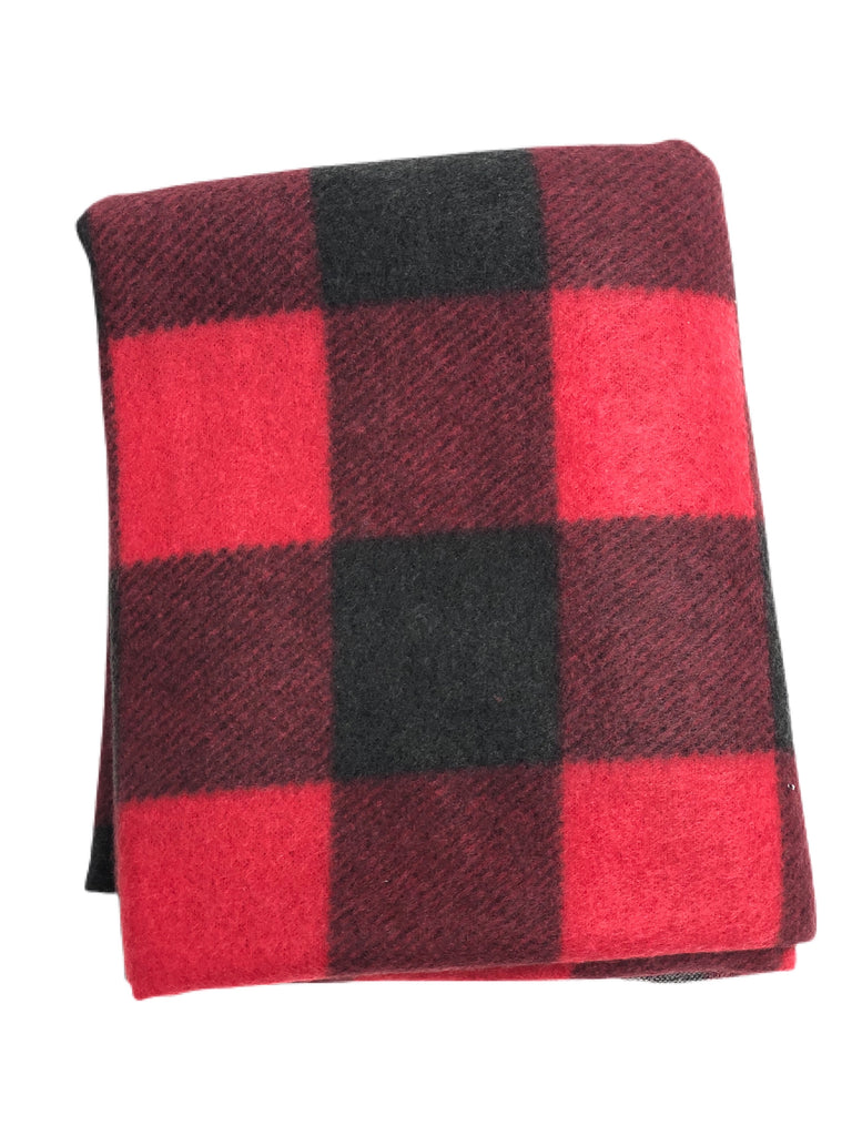 Large Red Buffalo plaid brushed hacci knit