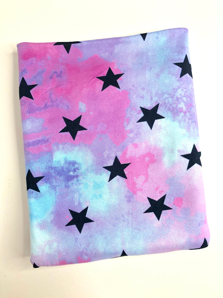 Tie dye stars brushed poly knit