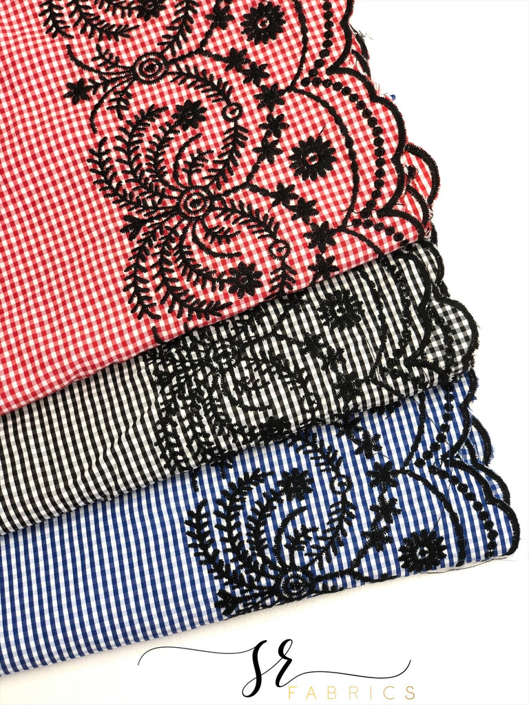 Embroidered checkered woven cotton poly