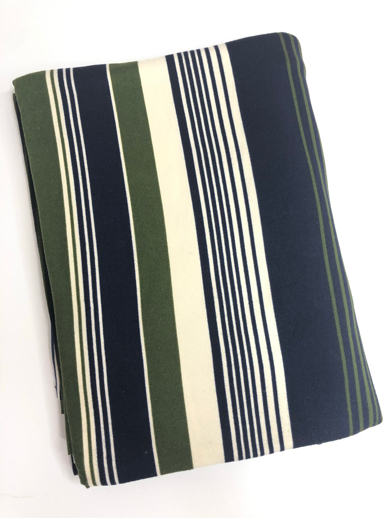 Navy olive cream stripe brushed poly knit